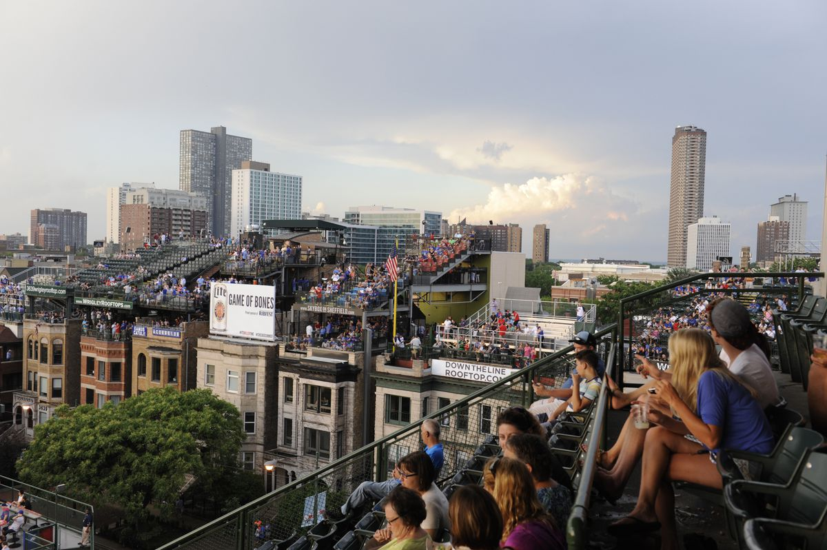 A general view of the rooftops in a game between the Chicago Cubs and the Washington Nationals during the second game of a doubleheader