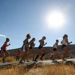 The 3A girls state cross-country championships are held at Soldier Hollow in Midway on Thursday, Oct. 22, 2020.