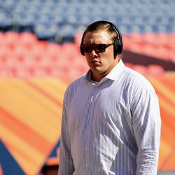 Broncos T Garrett Bolles walks the field, looking fly, during pre-game.