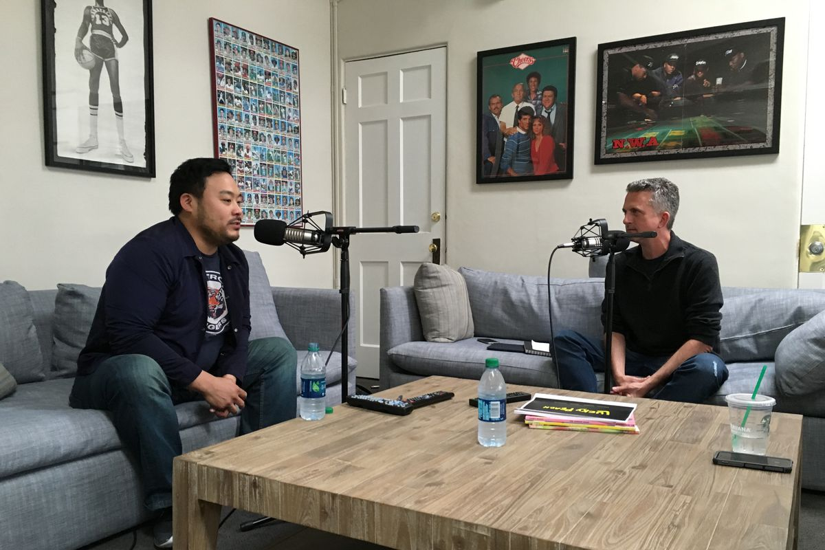 Dave Chang and Bill Simmons in a podcast studio