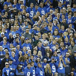 Brigham Young Cougars fans watch the action in Provo Saturday, Oct. 4, 2014. USU won 35-20.