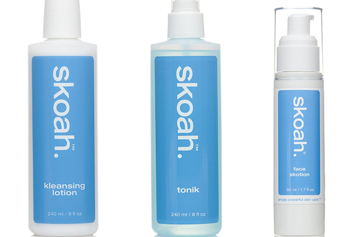 """Skoah Kleansing Lotion (<a href=""""http://www.skoah.com/products/cleansers/kleansing-lotion"""">$30</a>), Tonik (<a href=""""http://www.skoah.com/products/toners/tonik"""">$25</a>), and Face Skotion (<a href=""""http://www.skoah.com/products/moisturizers/face-sko"""