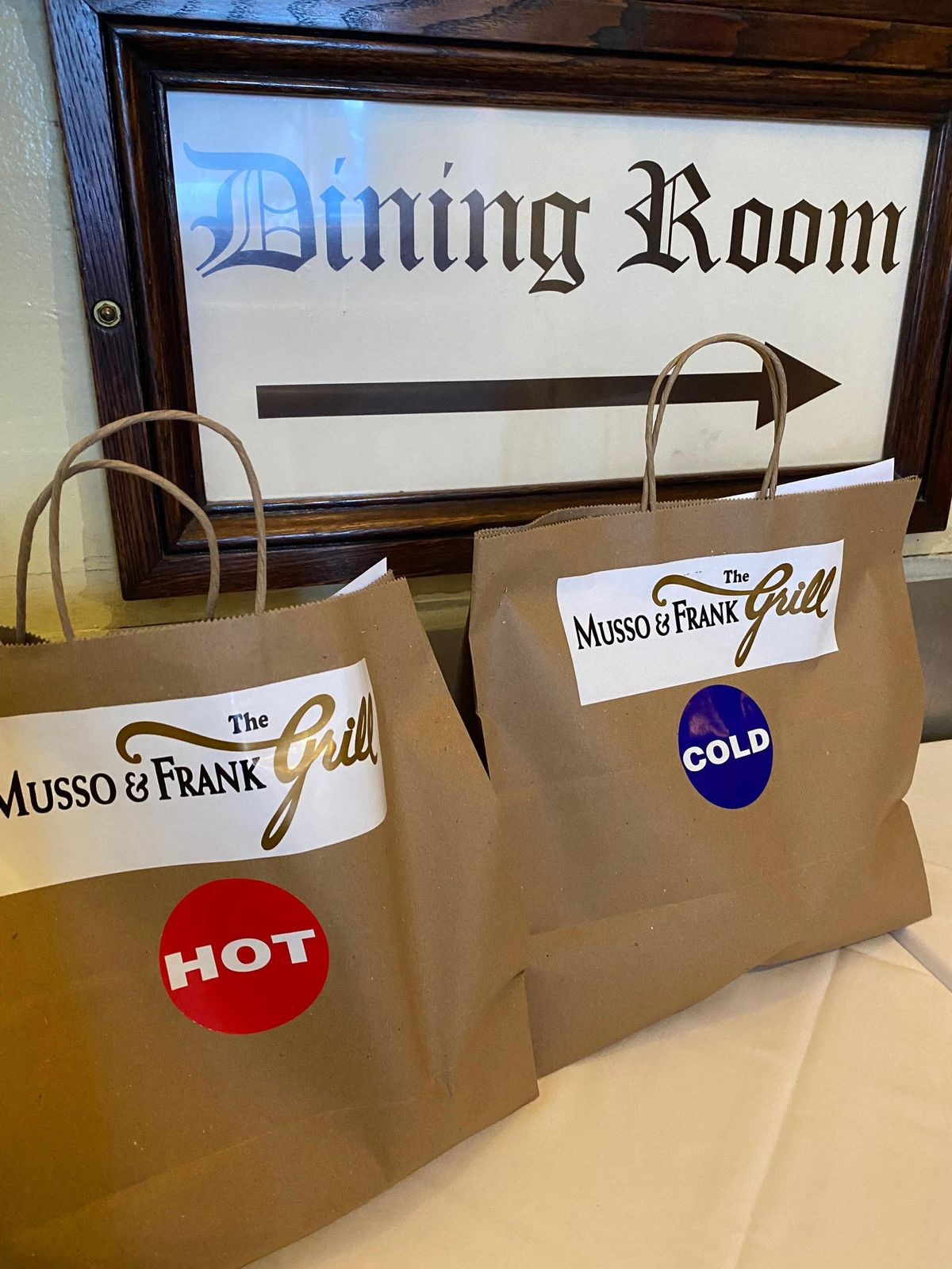 Musso & Frank's takeout bags for the first time ever.