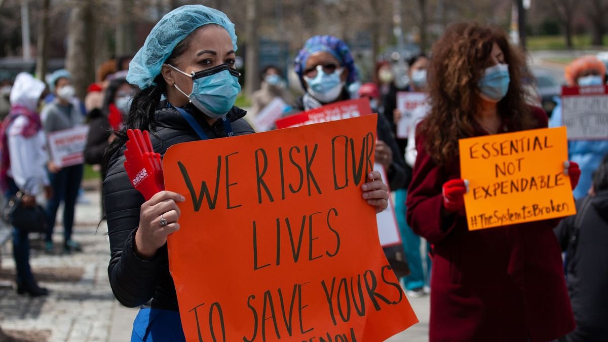 Nurses decried a lack of protective equipment outside city-run Jacobi Medical Center in The Bronx, April 17, 2020.
