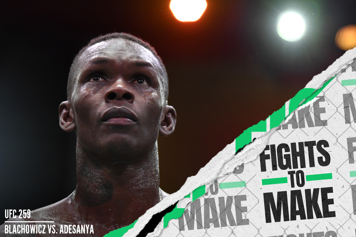 Israel Adesanya of Nigeria reacts after his UFC light heavyweight championship fight against Jan Blachowicz of Poland at UFC 259.