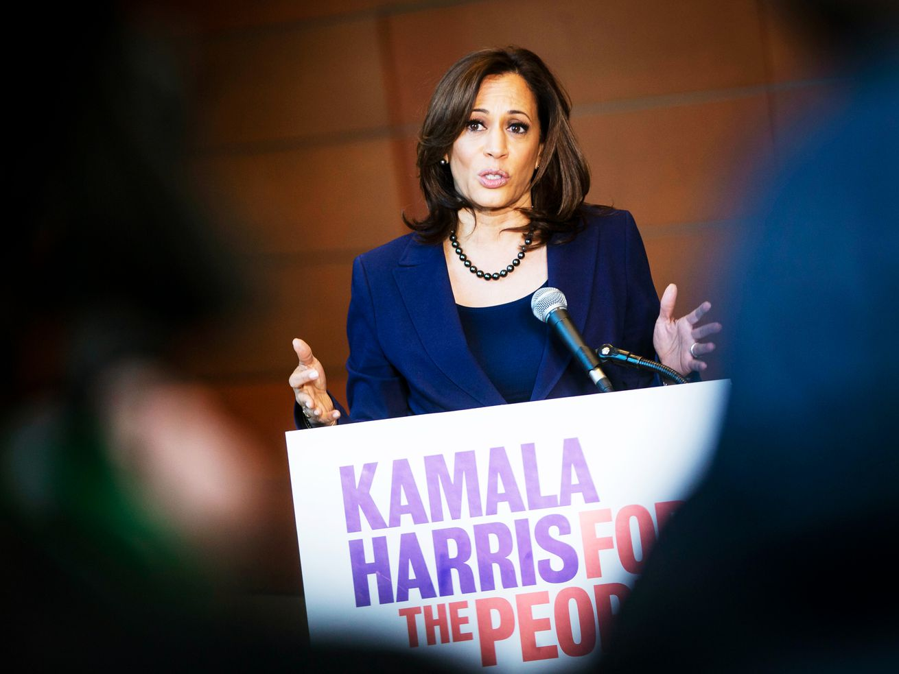 Sen. Kamala Harris (D-CA) speaks at Howard University after announcing her campaign for president.