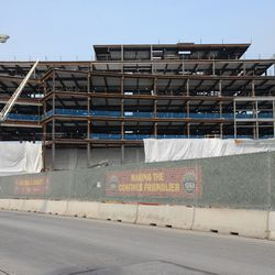 1:14 p.m. Another view of the south side of the plaza building, along Clark Street -
