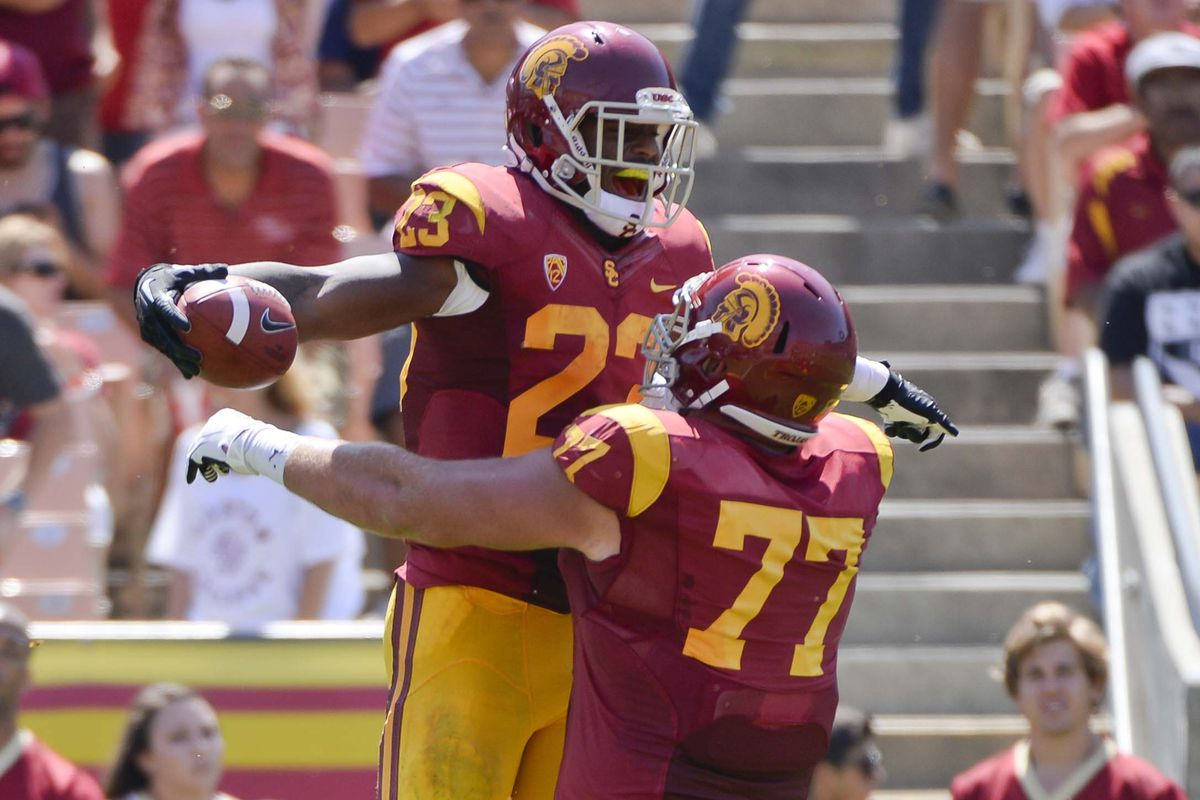Tre Madden and Kevin Graf celebrate a touchdown
