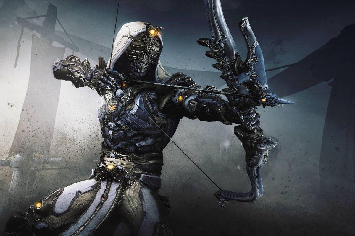 Warframe - The Ash Warframe poses, preparing to shoot a bow.