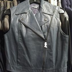 Steel blue leather vest, $279 (was $895)