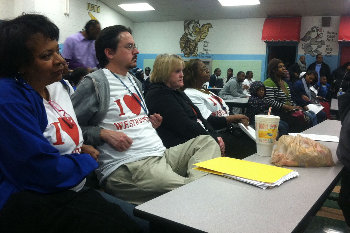 Community members at a meeting hosted by Shelby County school board