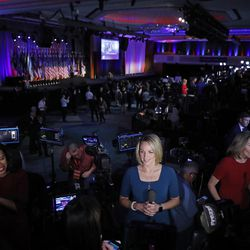 Reporters speak on-camera as they wait for supporters to arrive at Republican presidential candidate Donald Trump's election night rally on Nov. 8, 2016, in New York.