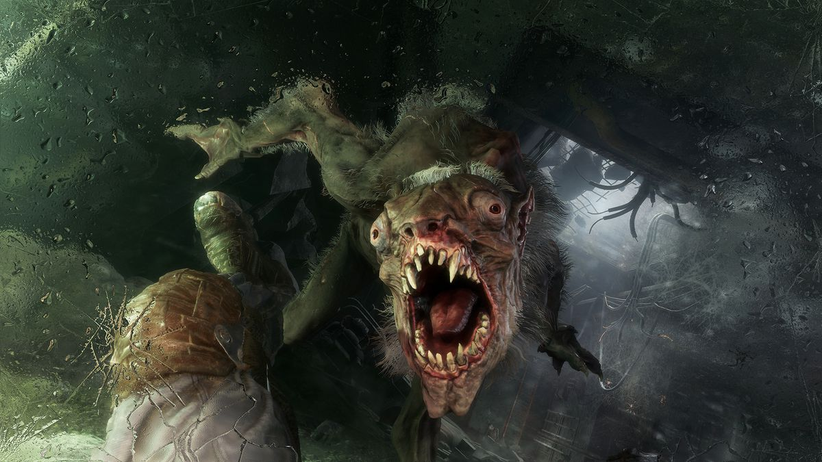 Artyom kicking a dog/bear/rat creature down a sewer access tunnel in Metro Exodus.