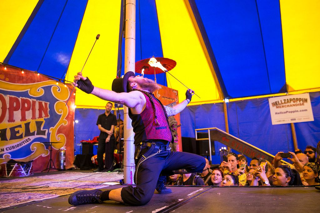 Festival-goers attend Hellzapoppin Circus Sideshow Revue on day two of Riot Fest in Douglas Park, Sept. 16, 2017. | Ashlee Rezin/Sun-Times