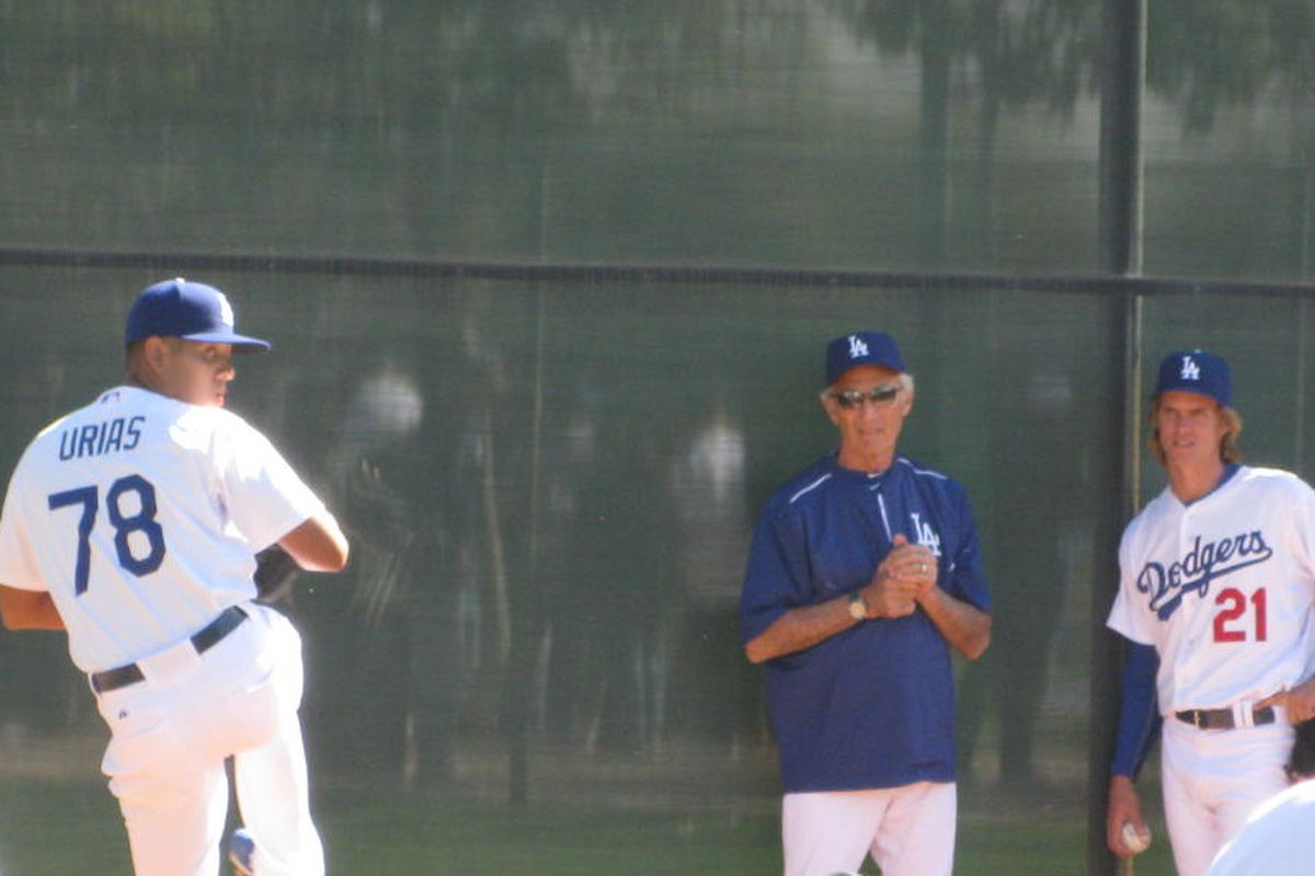 Just a couple of Cy Young Award winners watching a kid.