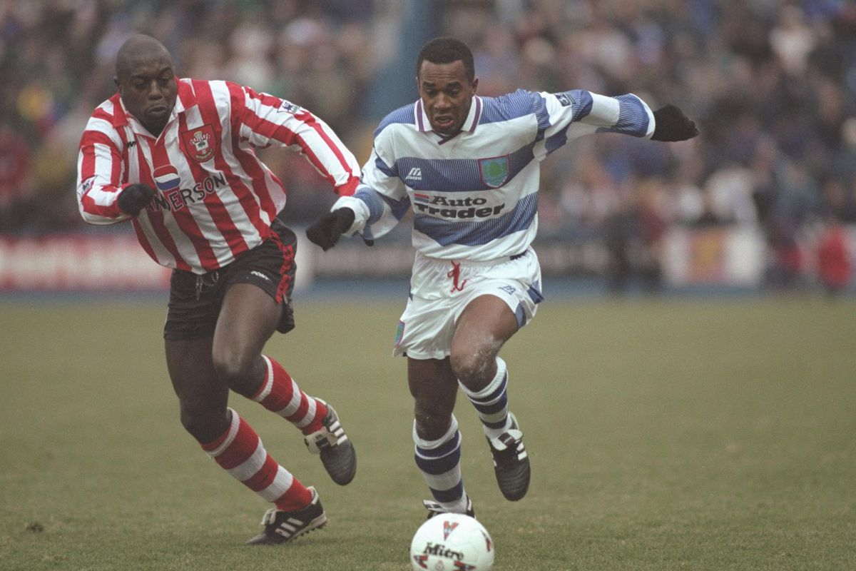 Michael Gilkes of Reading (right) is pursued by Ulrich Van Gobbel of Southampton