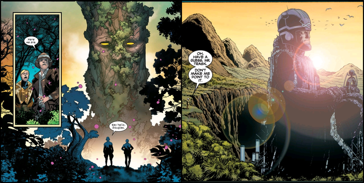 Left: Doug Ramsey and Professor X talk to Krakoa in Powers of X #4 (2019). Right: Cassandra Nova and Bolivar Trask observe a huge Master Mold factory, which looks like a seated Sentinel, in New X-Men #114 (2001).