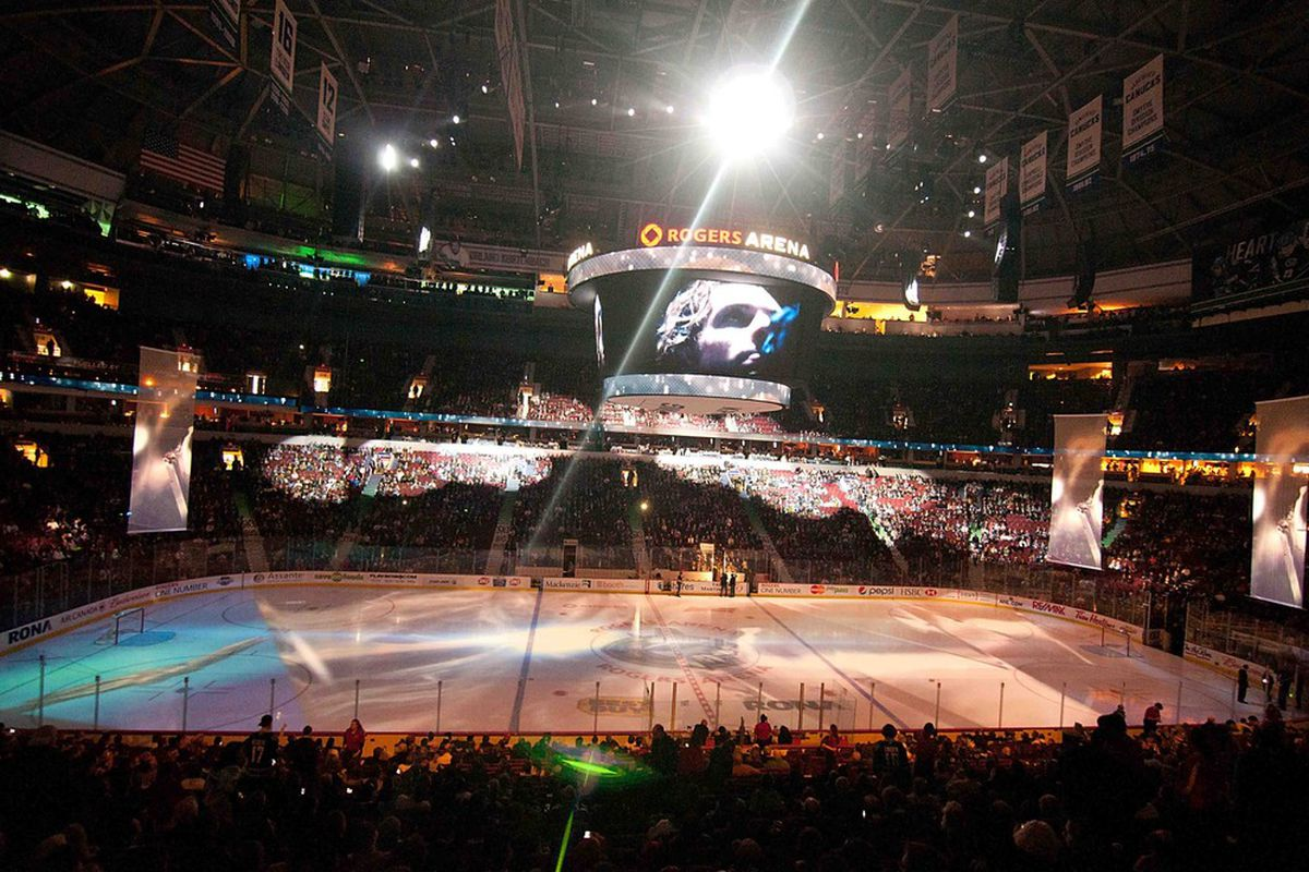 Mar 29, 2012; Vancouver, British Columbia,CANADA; Opening ceremonies before the Vancouver Canucks host the Colorado Avalanche at Rogers Arena. The Vancouver Canucks won 1-0. Mandatory Credit: Anne-Marie Sorvin-US PRESSWIRE