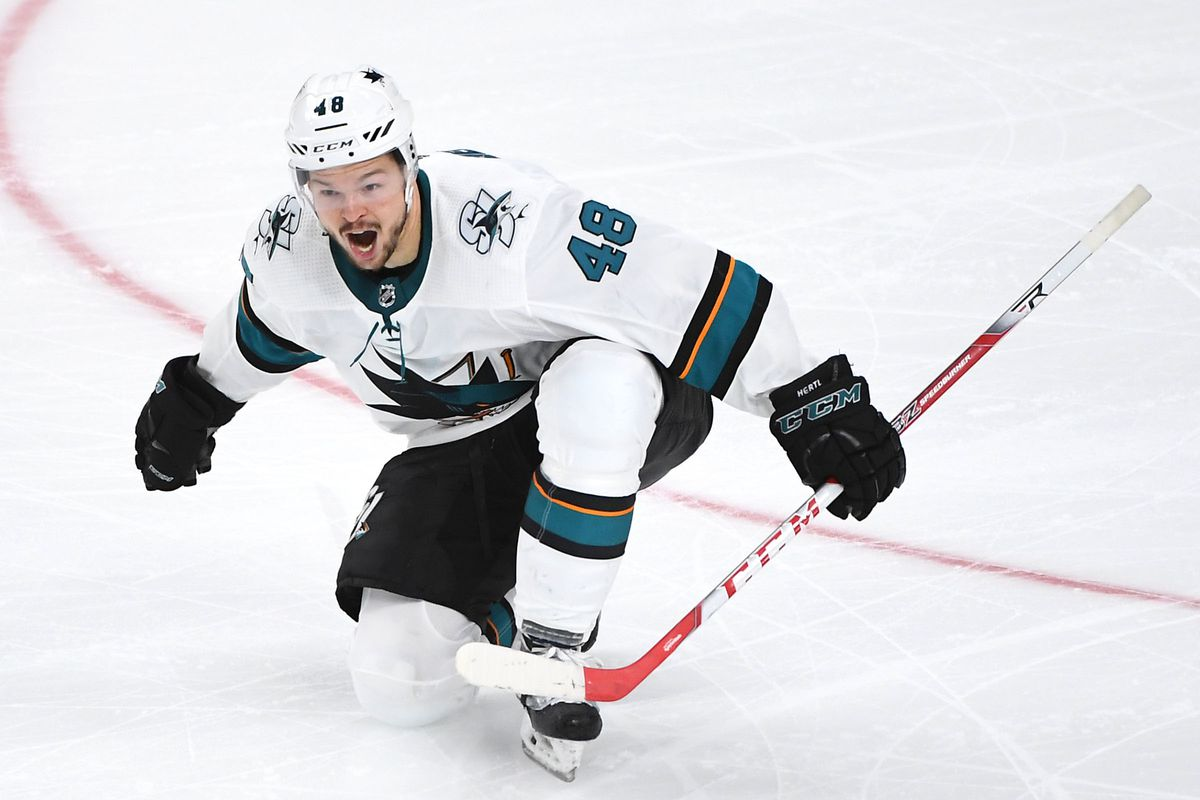 Apr 21, 2019; Las Vegas, NV, USA; San Jose Sharks center Tomas Hertl (48) celebrates after scoring a goal in the second overtime of game six of the first round of the 2019 Stanley Cup Playoffs to give the Sharks a 2-1 victory over the Vegas Golden Knights