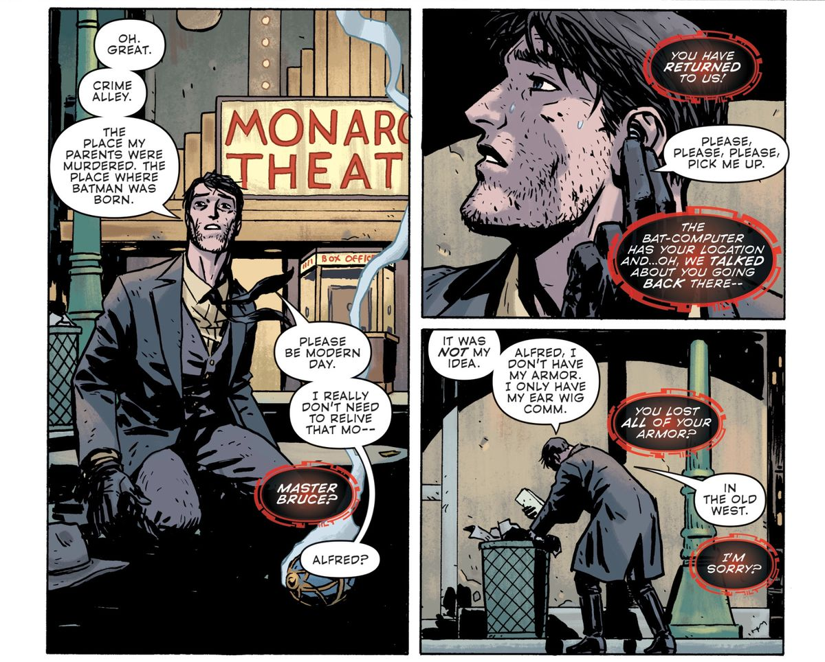 An exhausted Batman comes out of a time jump in Crime Alley wearing clothes from the Old West, and calls Alfred to come pick him up, in Batman Universe #4, DC Comics (2019).
