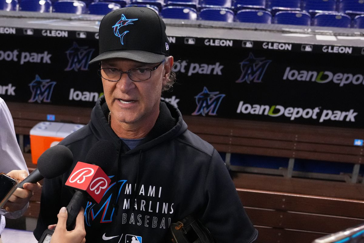 Manager Don Mattingly #8 of the Miami Marlins speaks with the media prior to the game against the San Diego Padres at loanDepot park