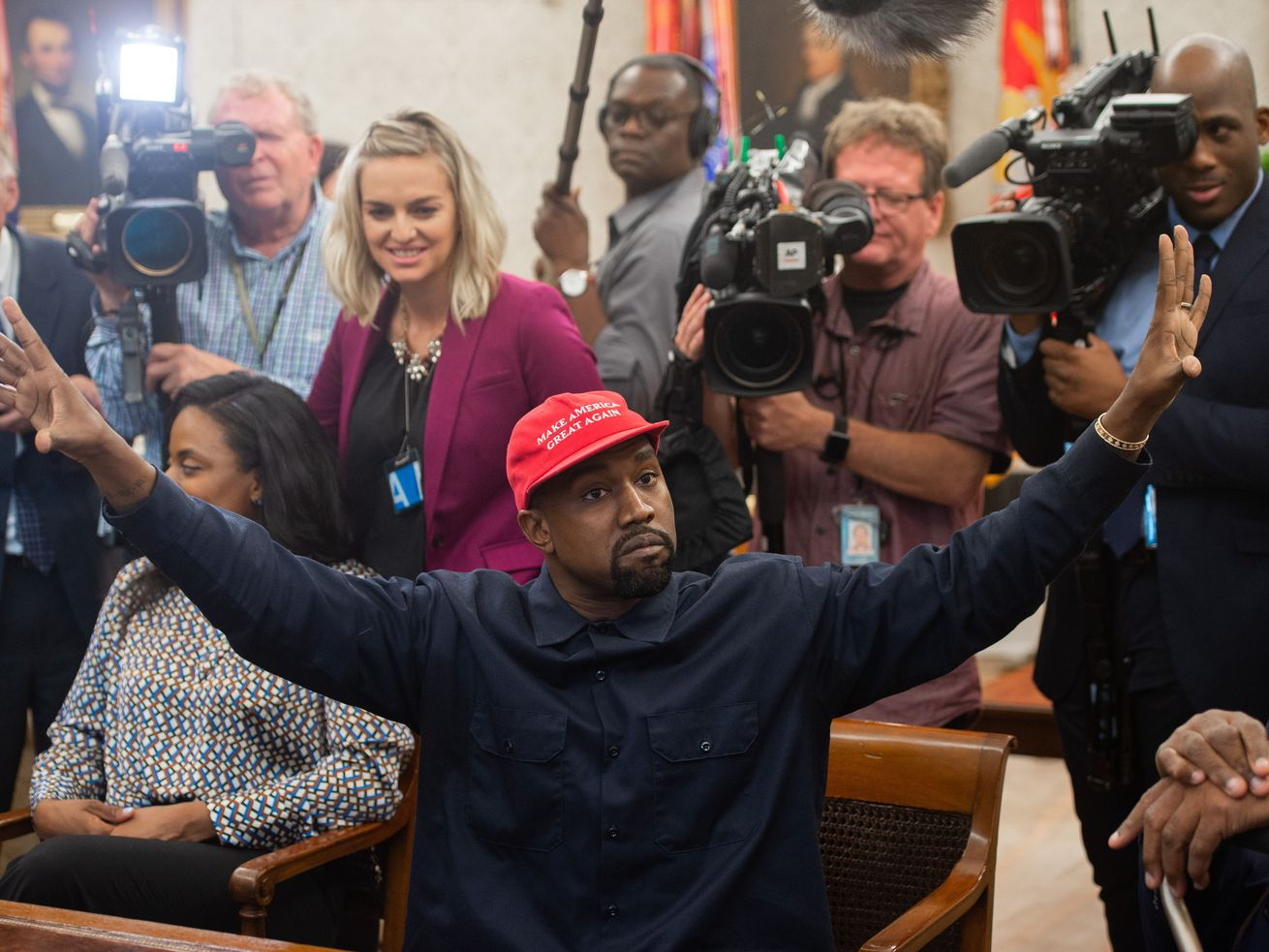 Kanye West during his meeting with President Donald Trump on October 11, 2018.
