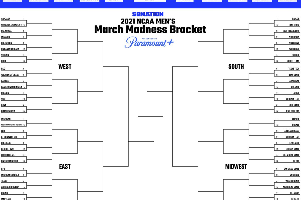 Printable bracket 30 Fill out your men's March Madness picks ...
