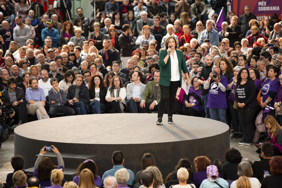 The mayor of Barcelona, Ada Colau, speaks at an event on April 06, 2019.