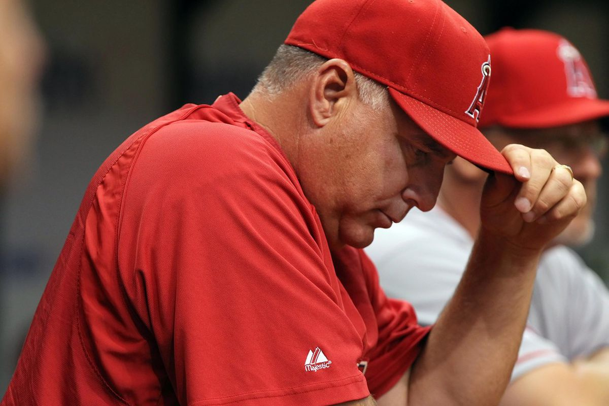 April 26, 2012; St. Petersburg, FL, USA; Los Angeles Angels manager Mike Scioscia (14) reacts in the dugout during the fifth inning against the Tampa Bay Rays at Tropicana Field. Mandatory Credit: Kim Klement-US PRESSWIRE