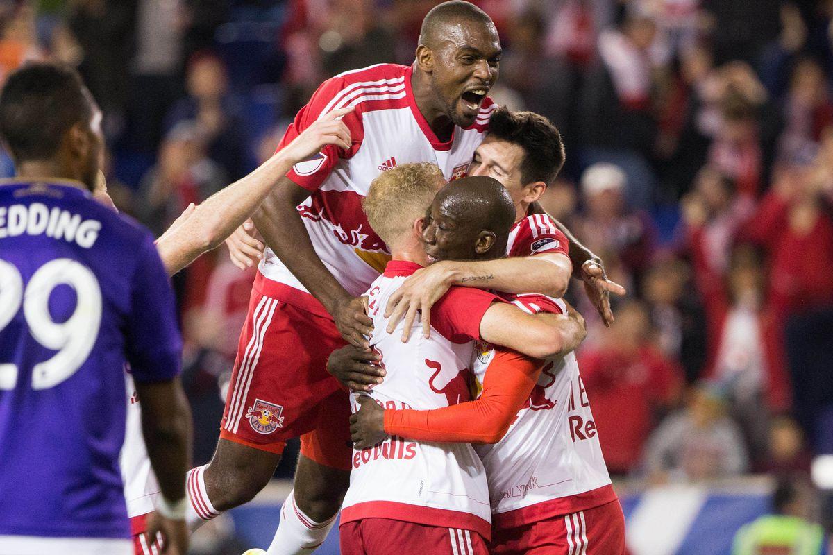 Bradley Wright-Phillips celebrates his two goals against Orlando City