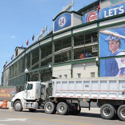 2:06 p.m. Dump truck parked in front of the ballpark -