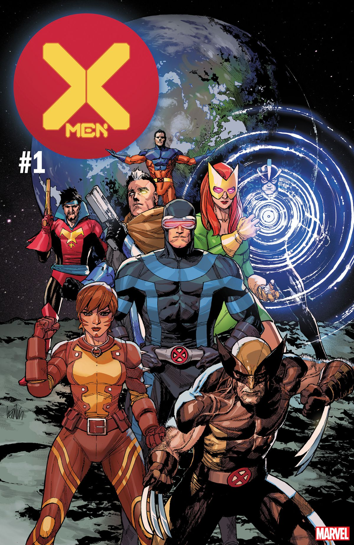 Cyclops, Jean Grey, Nate Grey, Teen Cable, Rachel Summers, Havoc, Corsair, and Wolverine are all on the moon on the cover of X-Men #1, Marvel Comics (2019).