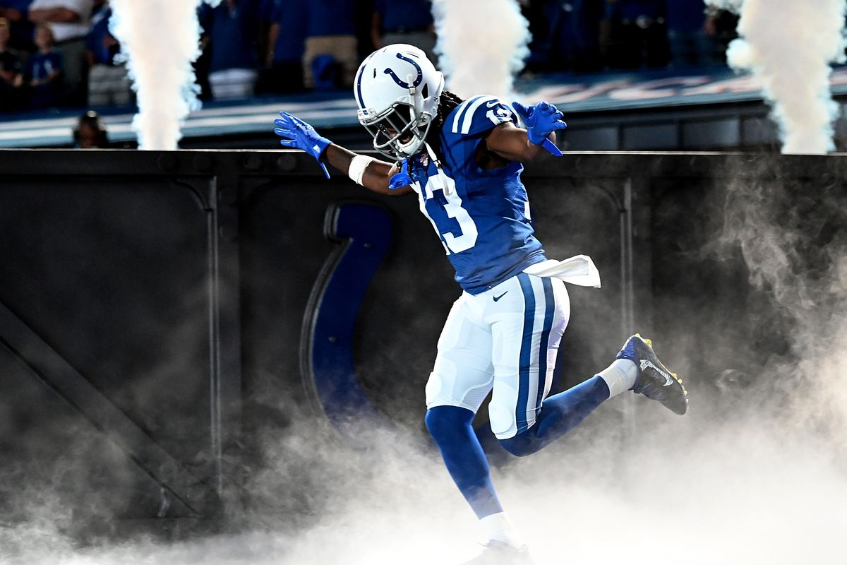 T.Y. Hilton of the Indianapolis Colts takes the field before the start of the game against the Atlanta Falcons at Lucas Oil Stadium on September 22, 2019 in Indianapolis, Indiana.