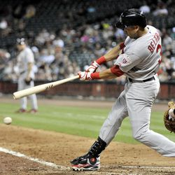 St. Louis Cardinals' Carlos Beltran hits into a double play with the bases loaded in the fifth inning of a baseball game against the Houston Astros Tuesday, Sept. 25, 2012, in Houston.
