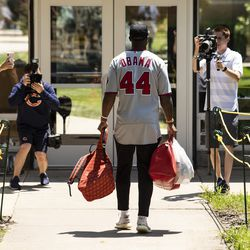 Chicago Bears' wide receiver Allen Robinson #12 arrives for training camp at Olivet Nazarene University in Bourbonnais, Thursday afternoon, July 25, 2019.