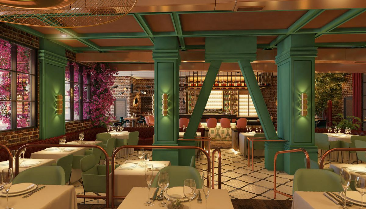 Dark green and pink tones shown as a rendering for an upscale new restaurant.