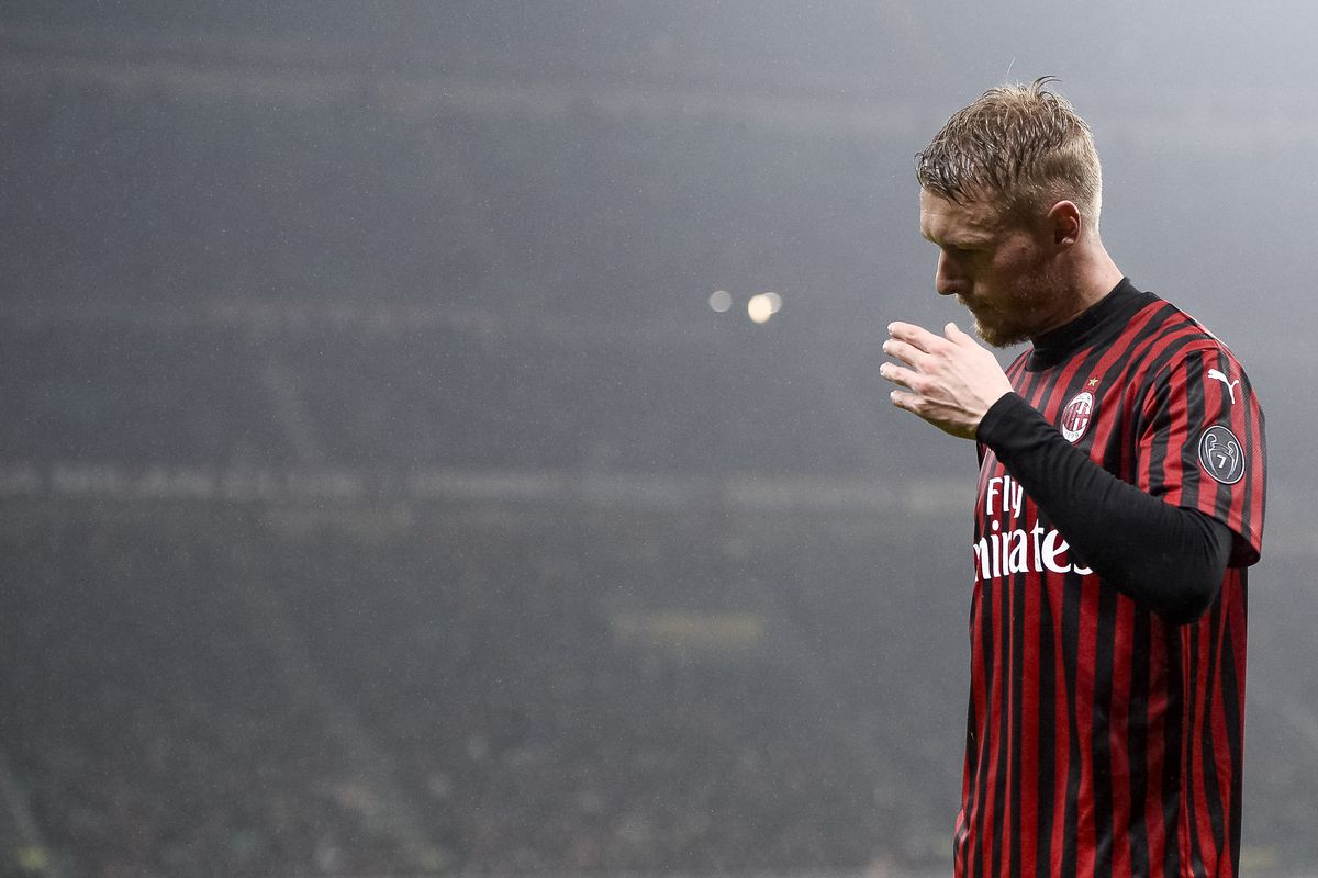 Simon Kjaer of AC Milan looks dejected during the Serie A...