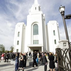 Hundreds came to the temple dedication ceremony on a sunny Sunday morning.