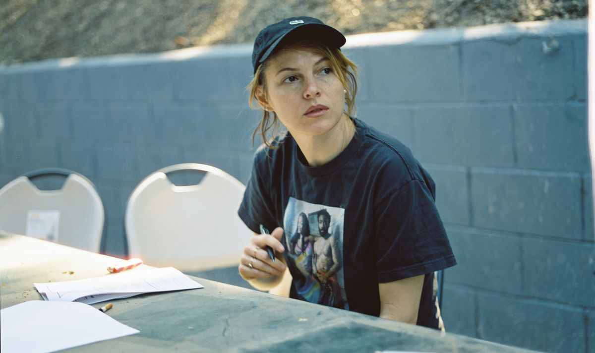 Amy Seimetz behind the scenes on the set of She Dies Tomorrow