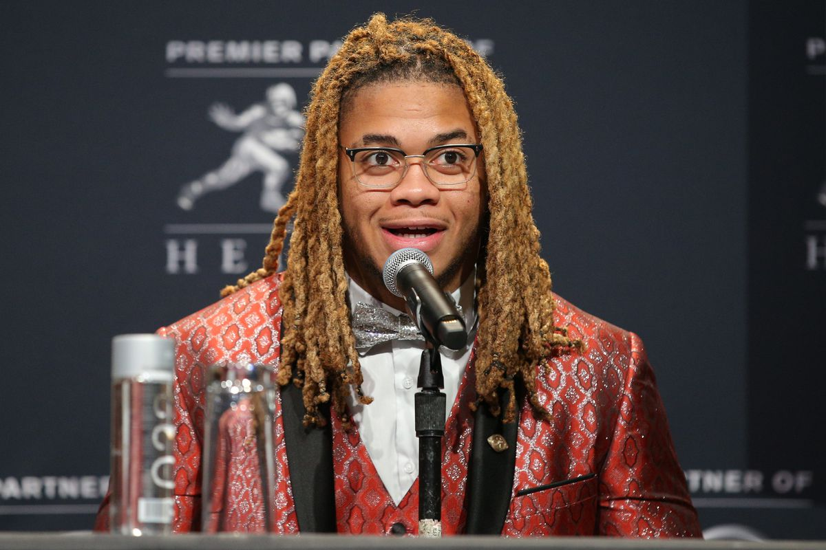 Ohio State Buckeyes defensive end and Heisman finalist Chase Young speaks to the media during a pre-ceremony press conference at the New York Marriott Marquis.