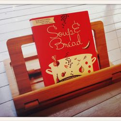 bamboo Recipe Book Holder // made by Hala // $35<br />Inside that, 2nd best seller = Soup & Bread Cookbook // from The Hideout event // $20