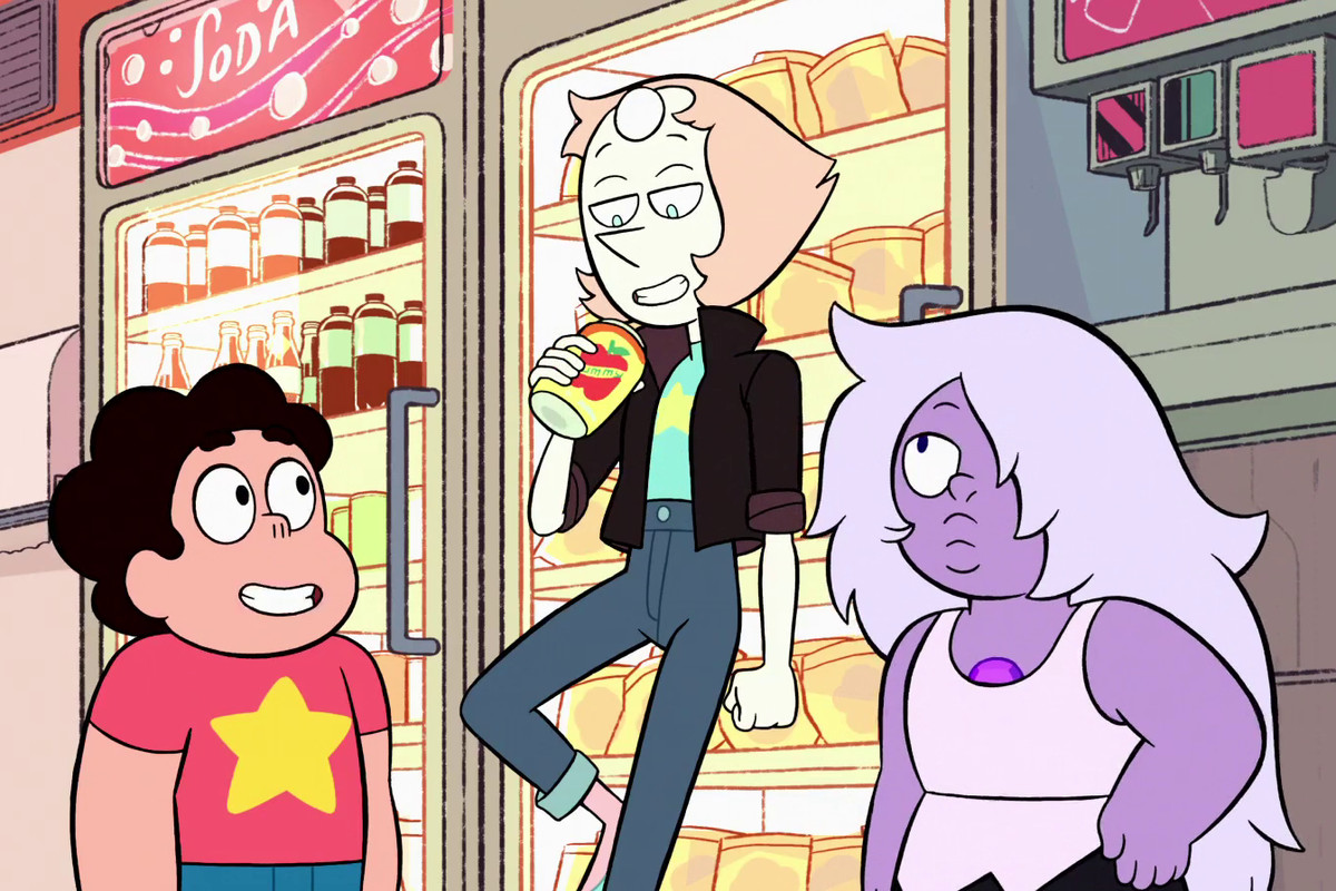 pearl in a convenience store with steven and amethyst