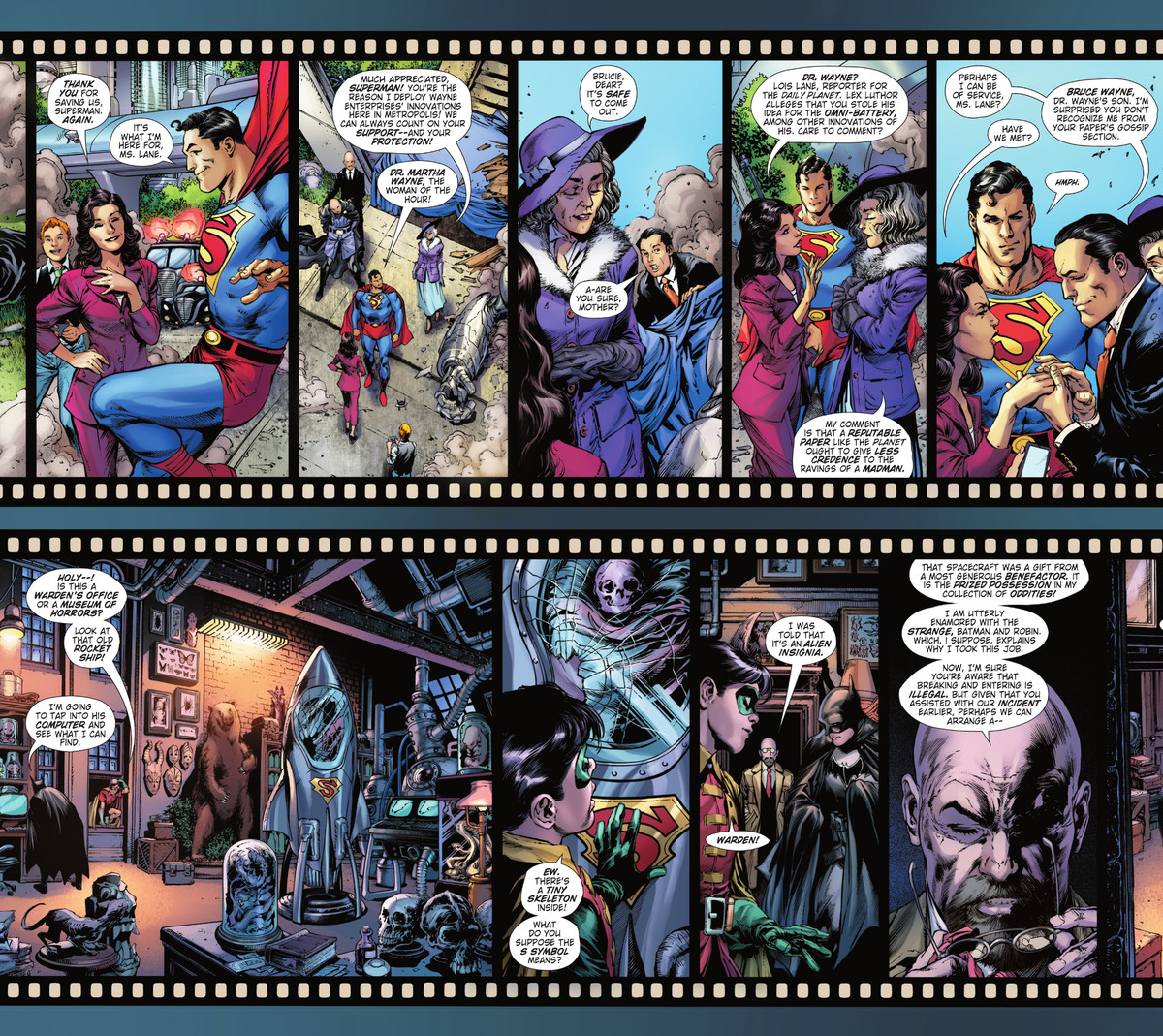 Two strips of panels decorated like rolls of films stock spool horizontally across the top and bottom of a double page spread. The top tells the story of Superman meeting Martha Wayne and her useless adult son Bruce, the bottom shows Batman and Robin exploring a room full of scientific curiosities, including a rocketship containing an infant's skeleton in Batman/Superman #16, DC Comics (2021).