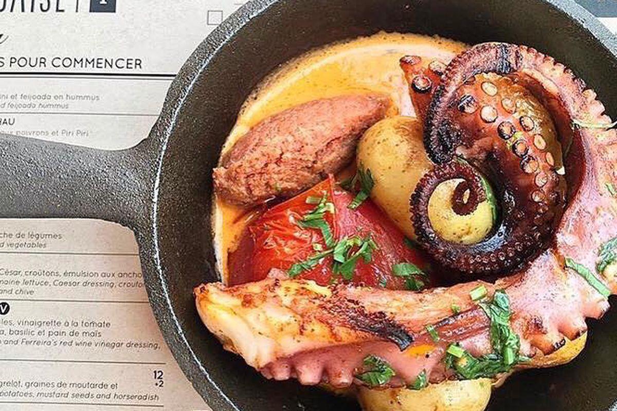 Grilled octopus on Taverne F menus.