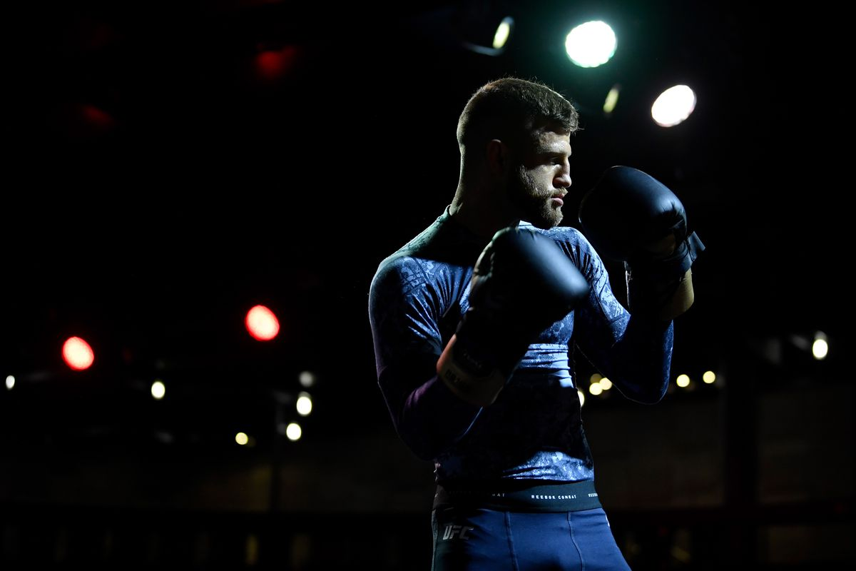 Calvin Kattar holds an open training session for fans and media during UFC Fight Night open workouts at Arbat Hall on November 6, 2019 in Moscow, Russia.