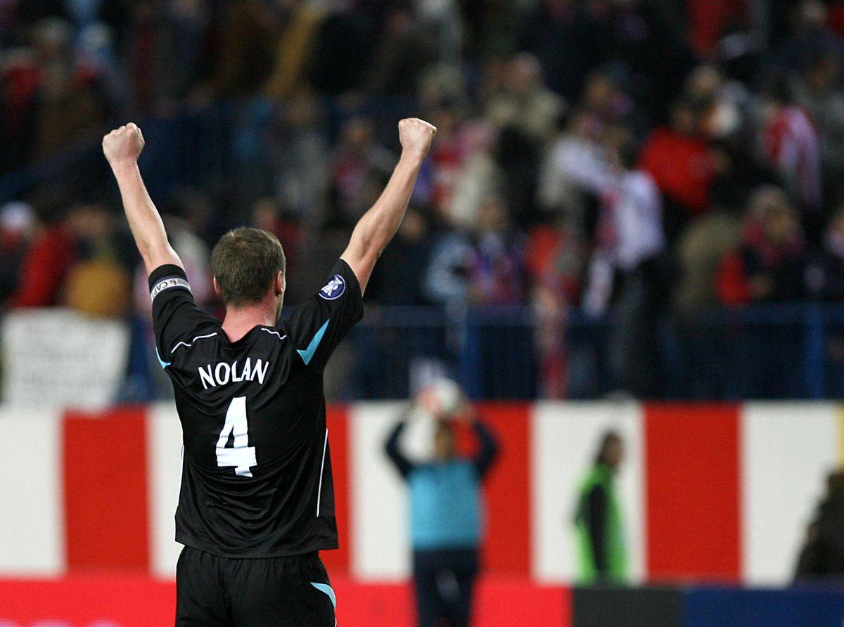 Bolton's Kevin Nolan celebrates after ho