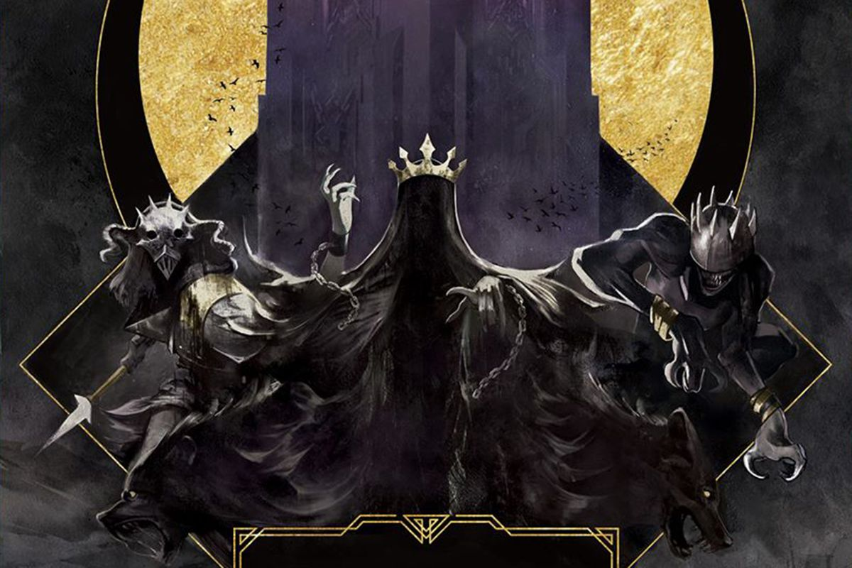 Wraiths line the battlements of the eponymous Dark Tower in key art from Restoration Games. The colors are yellow and gray, with gold accents.