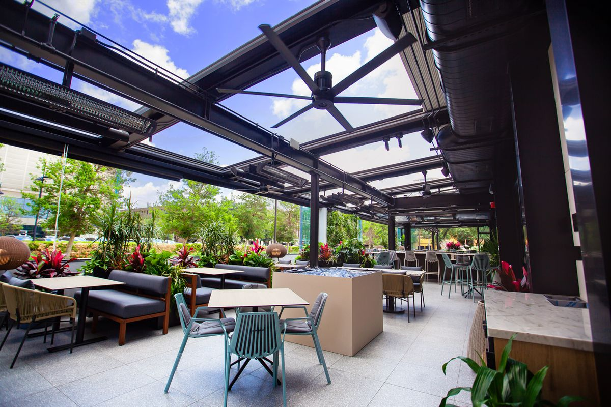 The outdoor patio at Joey Restaurant in Houston.