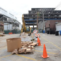 12:37 p.m. Looking south in the Blue Lot, currently being used as a construction staging area -