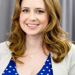 """In this April 24, 2012 photo, actress Jenna Fischer poses for a portrait in New York. In her latest project, a romantic comedy called """"The Giant Mechanical Man,""""  Fischer's character Janice is a down on her luck, single woman who can't seem to get her life together. She ends up falling for a street performer played by Chris Messina."""